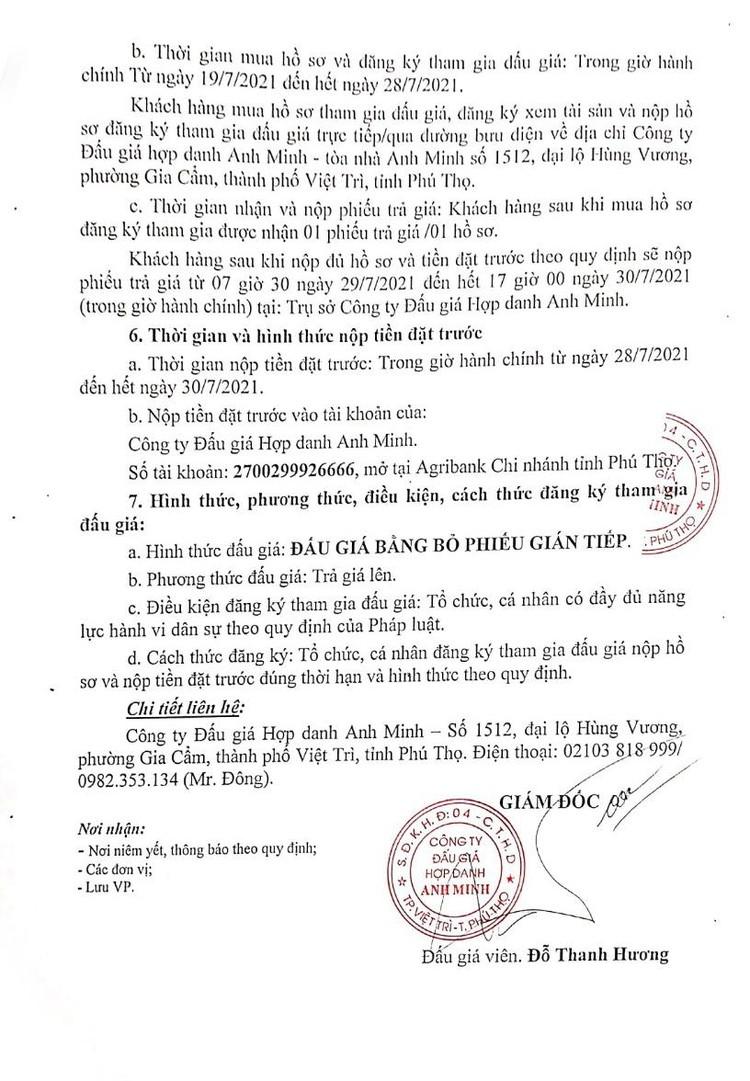 Ngày 31/7/2021, đấu giá xe ô tô KIA tại tỉnh Phú Thọ ảnh 3