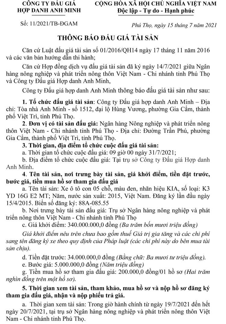 Ngày 31/7/2021, đấu giá xe ô tô KIA tại tỉnh Phú Thọ ảnh 4