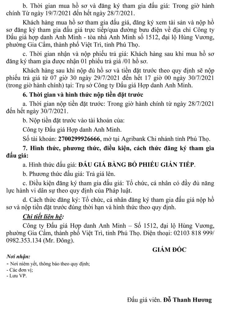 Ngày 31/7/2021, đấu giá xe ô tô KIA tại tỉnh Phú Thọ ảnh 5
