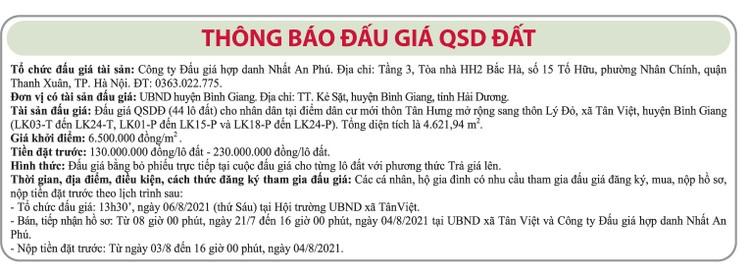Ngày 6/8/2021, đấu giá quyền sử dụng đất tại huyện Bình Giang, tỉnh Hải Dương ảnh 1
