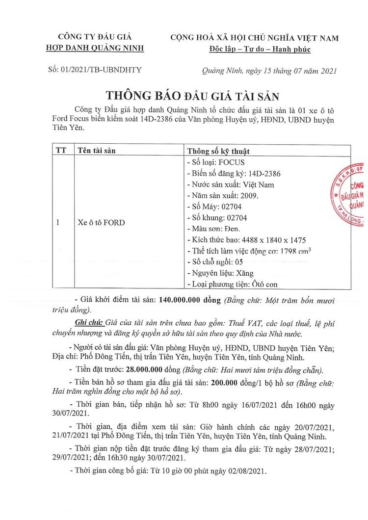 Ngày 2/8/2021, đấu giá xe ô tô Ford tại tỉnh Quảng Ninh ảnh 2
