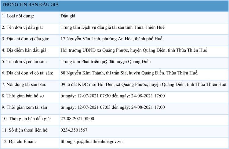 Ngày 27/8/2021, đấu giá quyền sử dụng 9 lô đất tại huyện Quảng Điền, tỉnh Thừa Thiên Huế ảnh 1