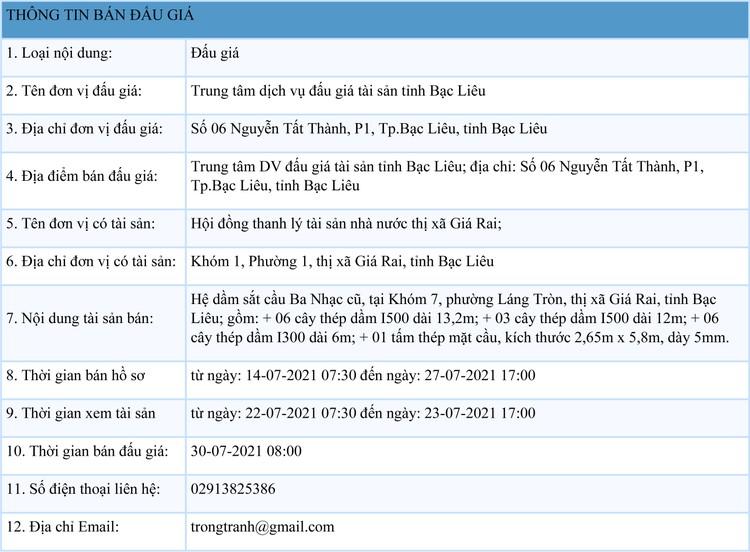 Ngày 30/7/2021, đấu giá hệ dầm sắt cầu Ba Nhạc cũ tại tỉnh Bạc Liêu ảnh 1