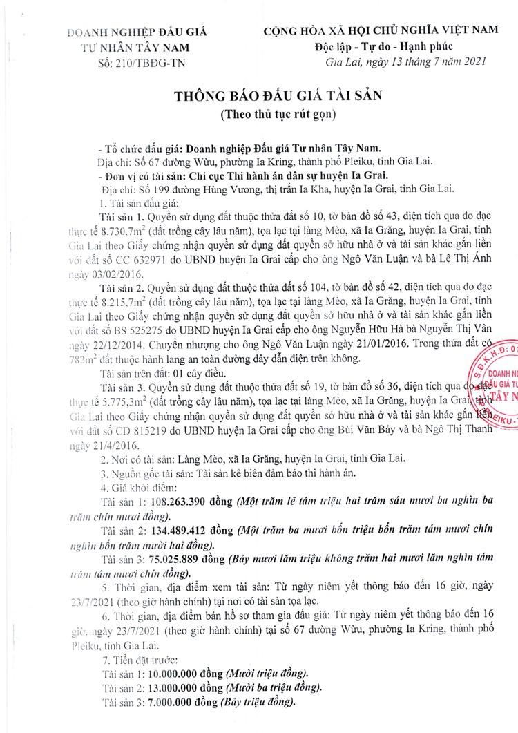 Ngày 27/7/2021, đấu giá quyền sử dụng đất tại huyện Ia Grai, tỉnh Gia Lai ảnh 2
