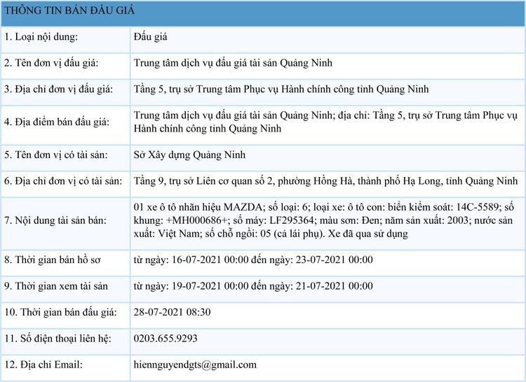 Ngày 28/7/2021, đấu giá xe ô tô MAZDA tại tỉnh Quảng Ninh ảnh 1