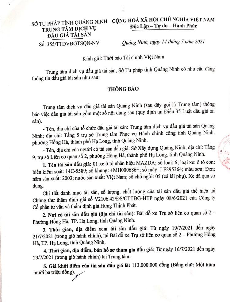 Ngày 28/7/2021, đấu giá xe ô tô MAZDA tại tỉnh Quảng Ninh ảnh 2