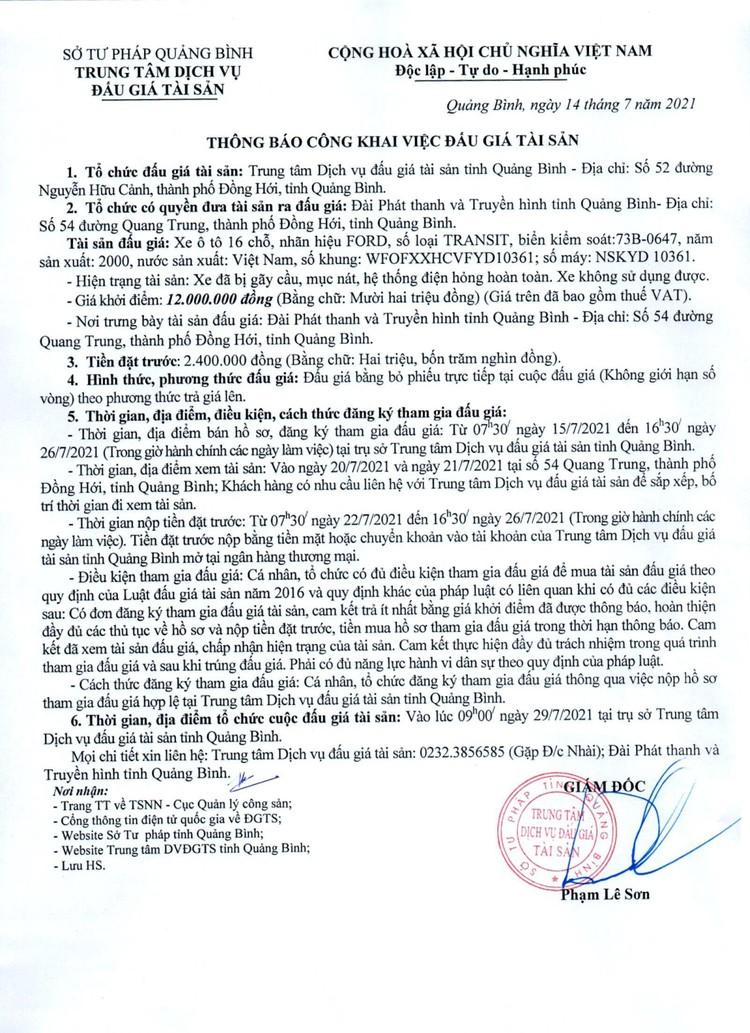 Ngày 29/7/2021, đấu giá xe ô tô FORD tại tỉnh Quảng Bình ảnh 2