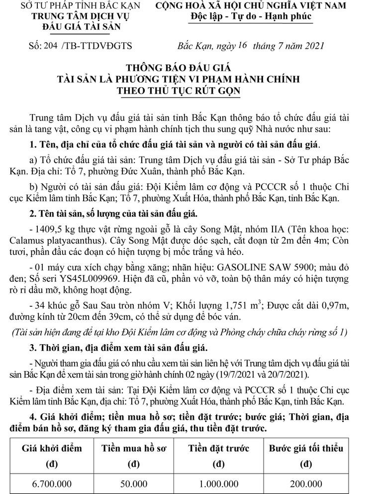 Ngày 22/7/2021, đấu giá tang vật vi phạm hành chính tịch thu tại tỉnh Bắc Kạn ảnh 2