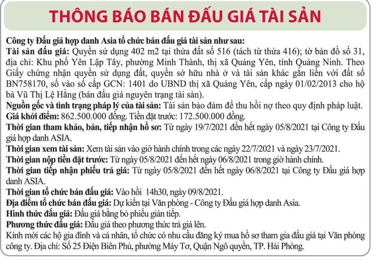 Ngày 9/8/2021, đấu giá quyền sử dụng đất tại thị xã Quảng Yên, tỉnh Quảng Ninh ảnh 1
