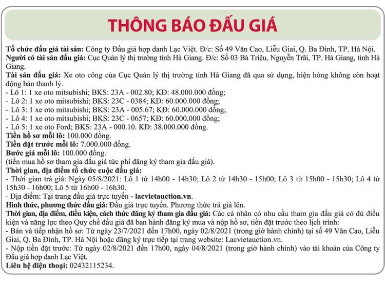 Ngày 5/8/2021, đấu giá 5 xe ô tô tại tỉnh Hà Giang ảnh 1