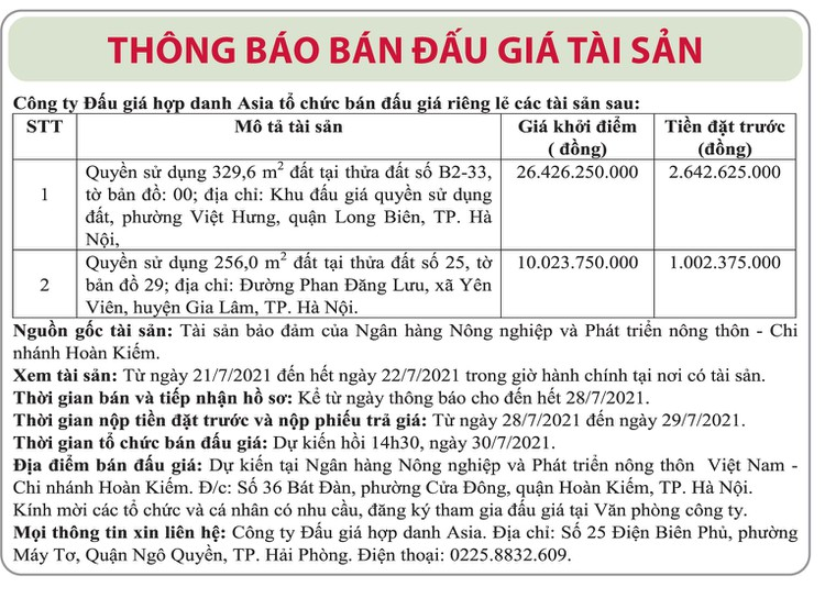 Ngày 30/7/2021, đấu giá quyền sử dụng đất tại huyện Gia Lâm và quận Long Biên, Hà Nội ảnh 1