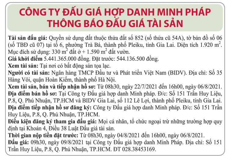 Ngày 9/8/2021, đấu giá quyền sử dụng đất tại TP.Pleiku, tỉnh Gia Lai ảnh 1