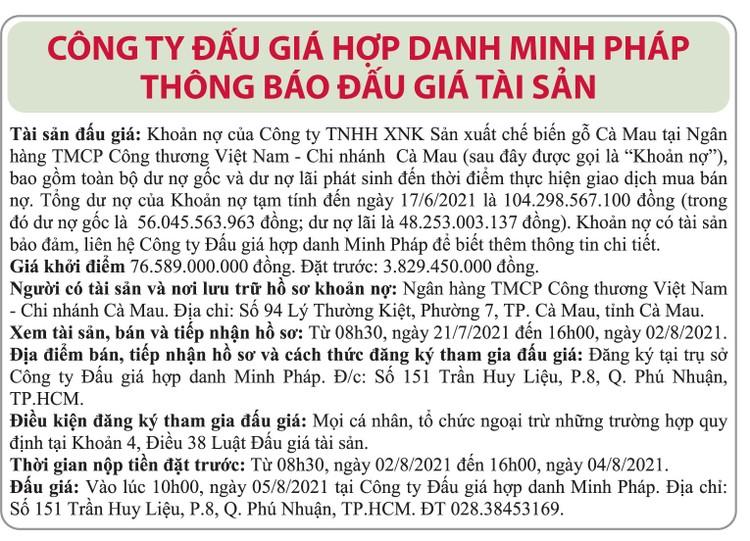 Ngày 5/8/2021, đấu giá khoản nợ của Công ty TNHH XNK Sản xuất chế biến gỗ Cà Mau tại Vietinbank Chi nhánh Cà Mau ảnh 1