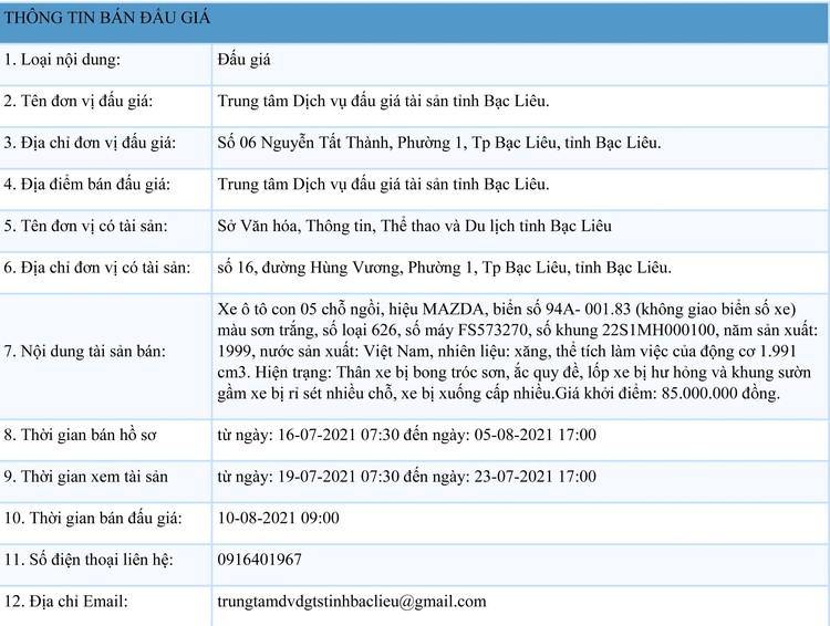 Ngày 10/8/2021, đấu giá xe ô tô MAZDA tại tỉnh Bạc Liêu ảnh 1