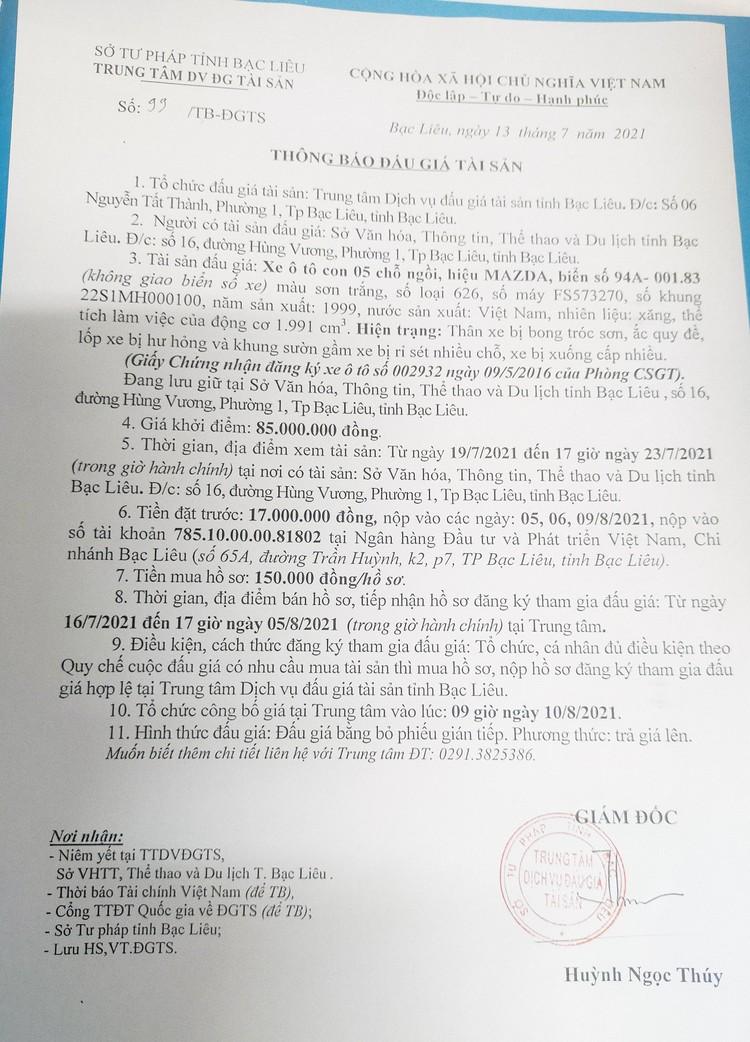 Ngày 10/8/2021, đấu giá xe ô tô MAZDA tại tỉnh Bạc Liêu ảnh 2