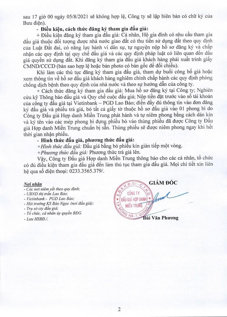 Ngày 8/8/2021, đấu giá quyền sử dụng 11 lô đất tại huyện Hướng Hóa, tỉnh Quảng Trị ảnh 4