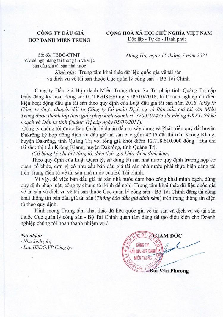 Ngày 7/8/2021, đấu giá quyền sử dụng 47 lô đất tại huyện Đakrông, tỉnh Quảng Trị ảnh 2