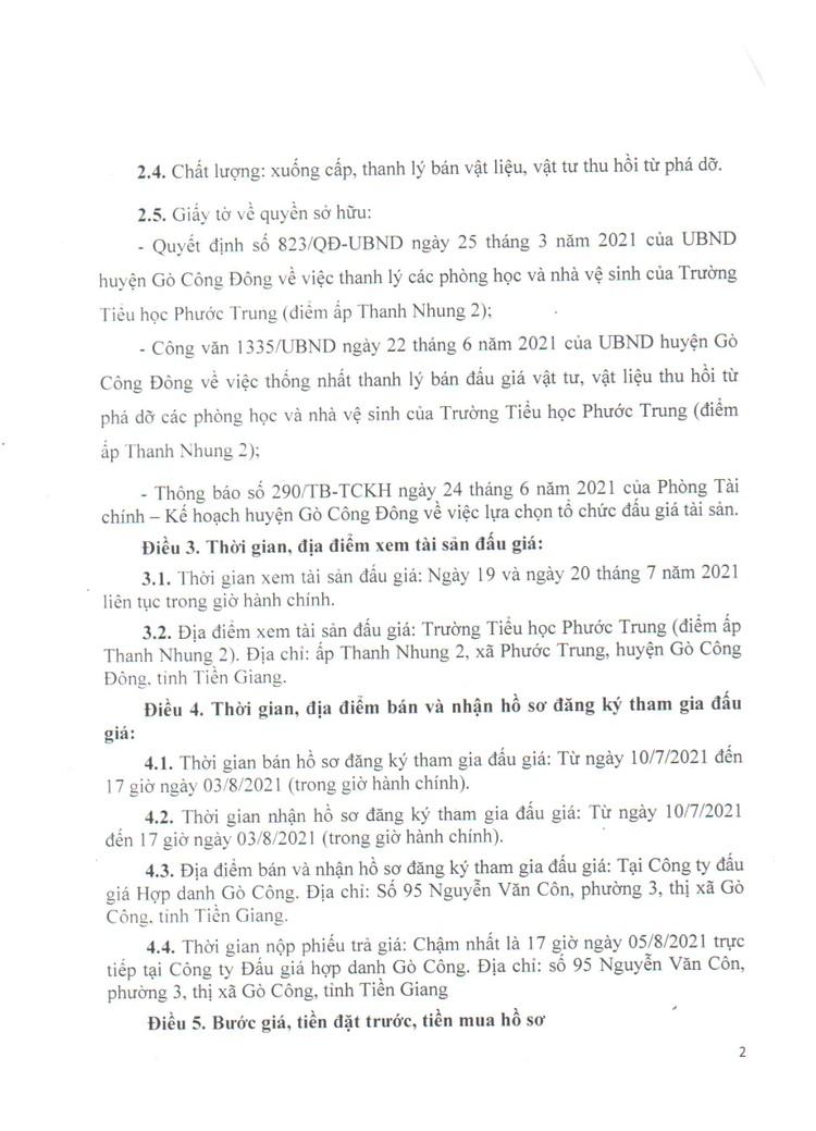 Ngày 6/8/2021, đấu giá thanh lý các phòng học và nhà vệ sinh của Trường Tiểu học Phước Trung, tỉnh Tiền Giang ảnh 3