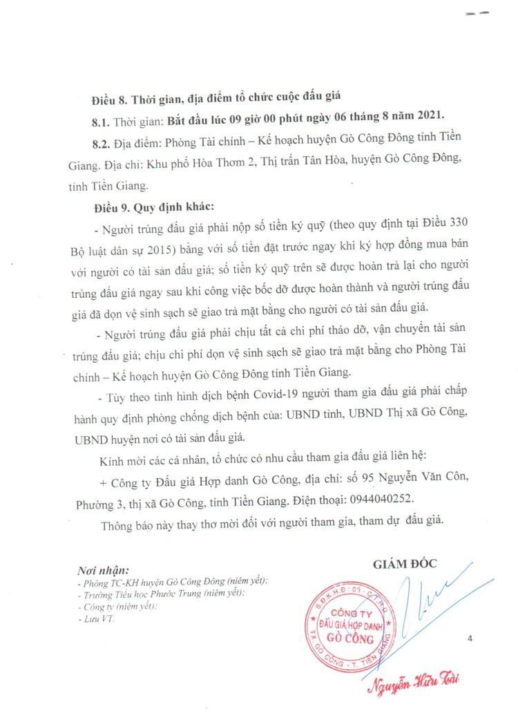 Ngày 6/8/2021, đấu giá thanh lý các phòng học và nhà vệ sinh của Trường Tiểu học Phước Trung, tỉnh Tiền Giang ảnh 5