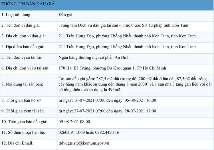 Ngày 9/8/2021, đấu giá quyền sử dụng 287,5 m2 đất tại thành phố Kon Tum, tỉnh Kon Tum ảnh 1