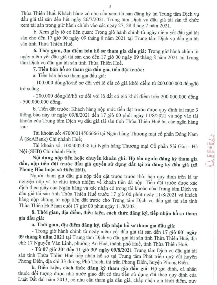 Ngày 12/8/2021, đấu giá quyền sử dụng 6 lô đất tại huyện Phong Điền, tỉnh Thừa Thiên Huế ảnh 4
