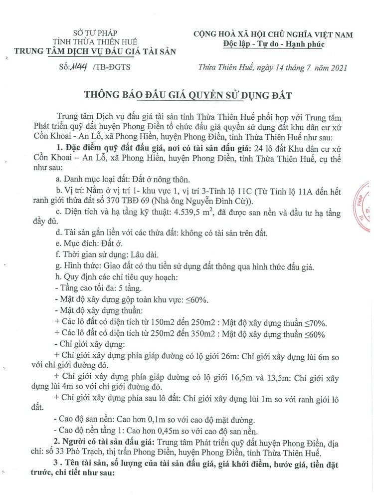 Ngày 14/8/2021, đấu giá quyền sử dụng 24 lô đất tại huyện Phong Điền, tỉnh Thừa Thiên Huế ảnh 2
