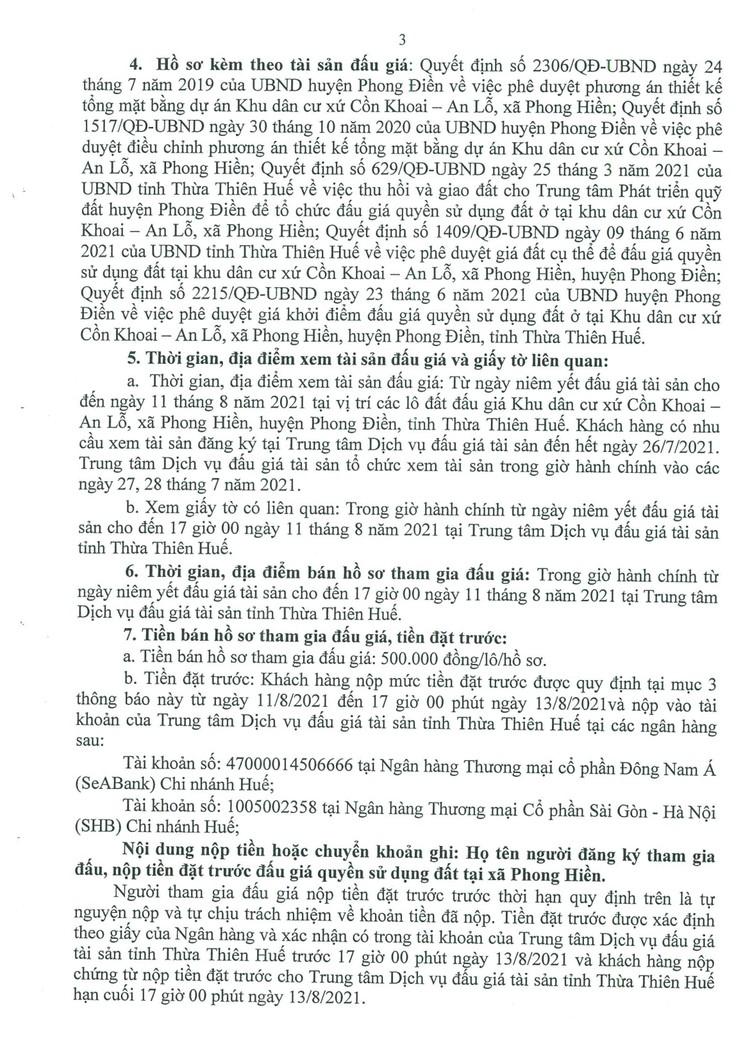 Ngày 14/8/2021, đấu giá quyền sử dụng 24 lô đất tại huyện Phong Điền, tỉnh Thừa Thiên Huế ảnh 4
