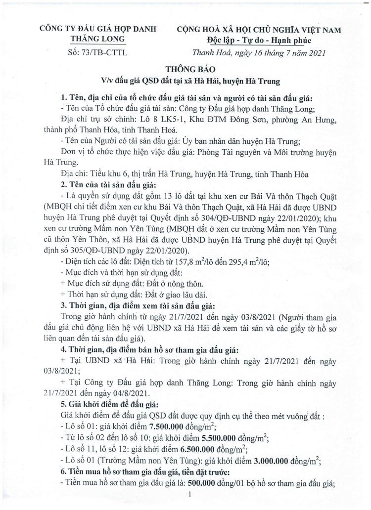 Ngày 7/8/2021, đấu giá quyền sử dụng 13 lô đất tại huyện Hà Trung, tỉnh Thanh Hóa ảnh 2