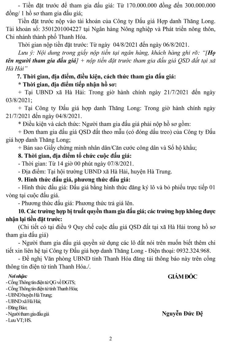 Ngày 7/8/2021, đấu giá quyền sử dụng 13 lô đất tại huyện Hà Trung, tỉnh Thanh Hóa ảnh 6