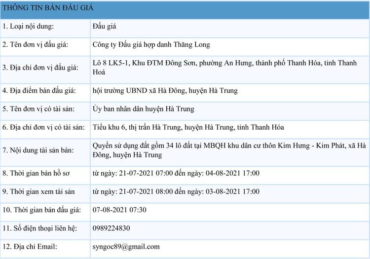 Ngày 7/8/2021, đấu giá quyền sử dụng 34 lô đất tại huyện Hà Trung, tỉnh Thanh Hóa ảnh 1