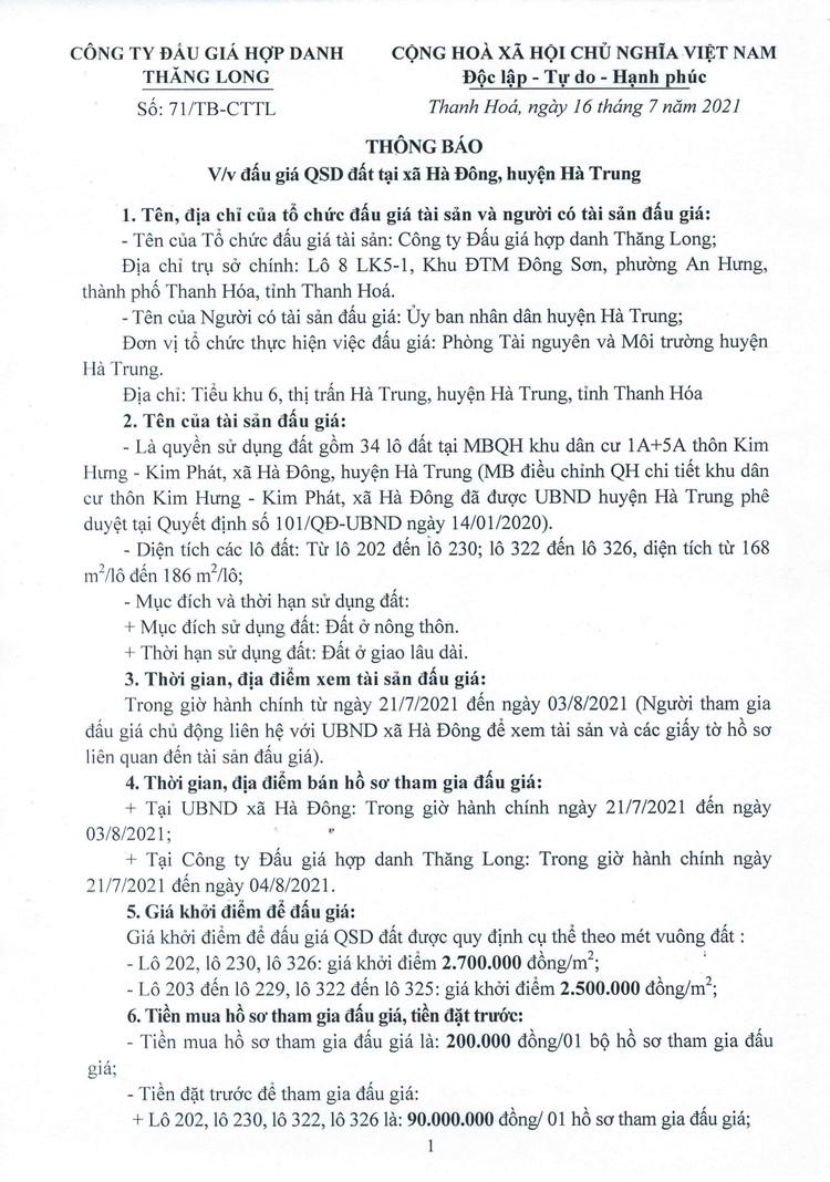 Ngày 7/8/2021, đấu giá quyền sử dụng 34 lô đất tại huyện Hà Trung, tỉnh Thanh Hóa ảnh 2