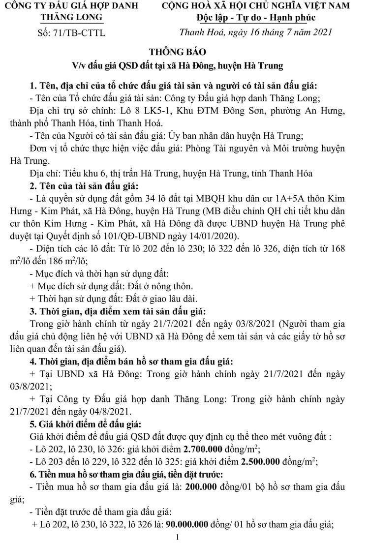 Ngày 7/8/2021, đấu giá quyền sử dụng 34 lô đất tại huyện Hà Trung, tỉnh Thanh Hóa ảnh 5