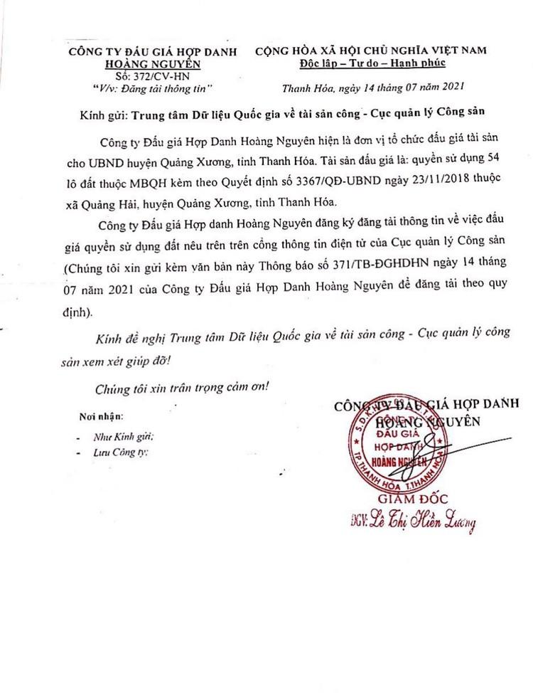 Ngày 5/8/2021, đấu giá quyền sử dụng 54 lô đất tại huyện Quảng Xương, tỉnh Thanh Hóa ảnh 2