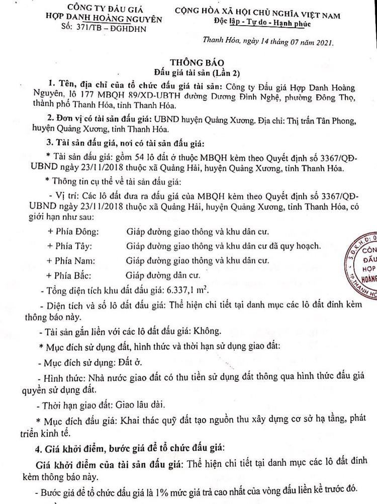 Ngày 5/8/2021, đấu giá quyền sử dụng 54 lô đất tại huyện Quảng Xương, tỉnh Thanh Hóa ảnh 3