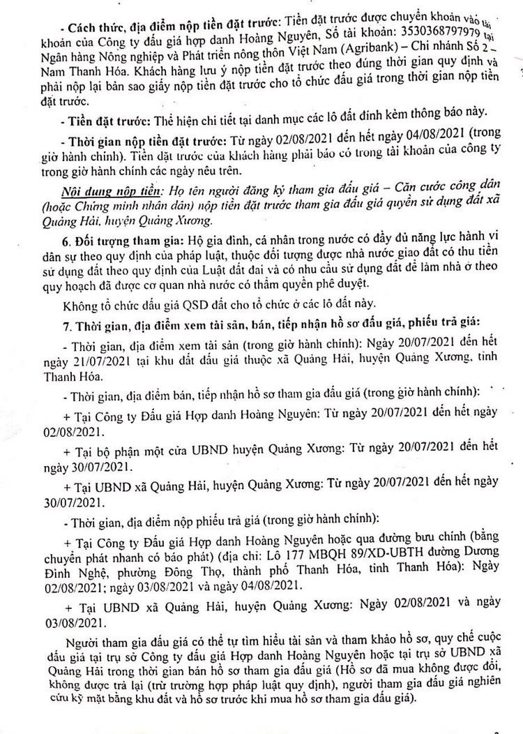 Ngày 5/8/2021, đấu giá quyền sử dụng 54 lô đất tại huyện Quảng Xương, tỉnh Thanh Hóa ảnh 4