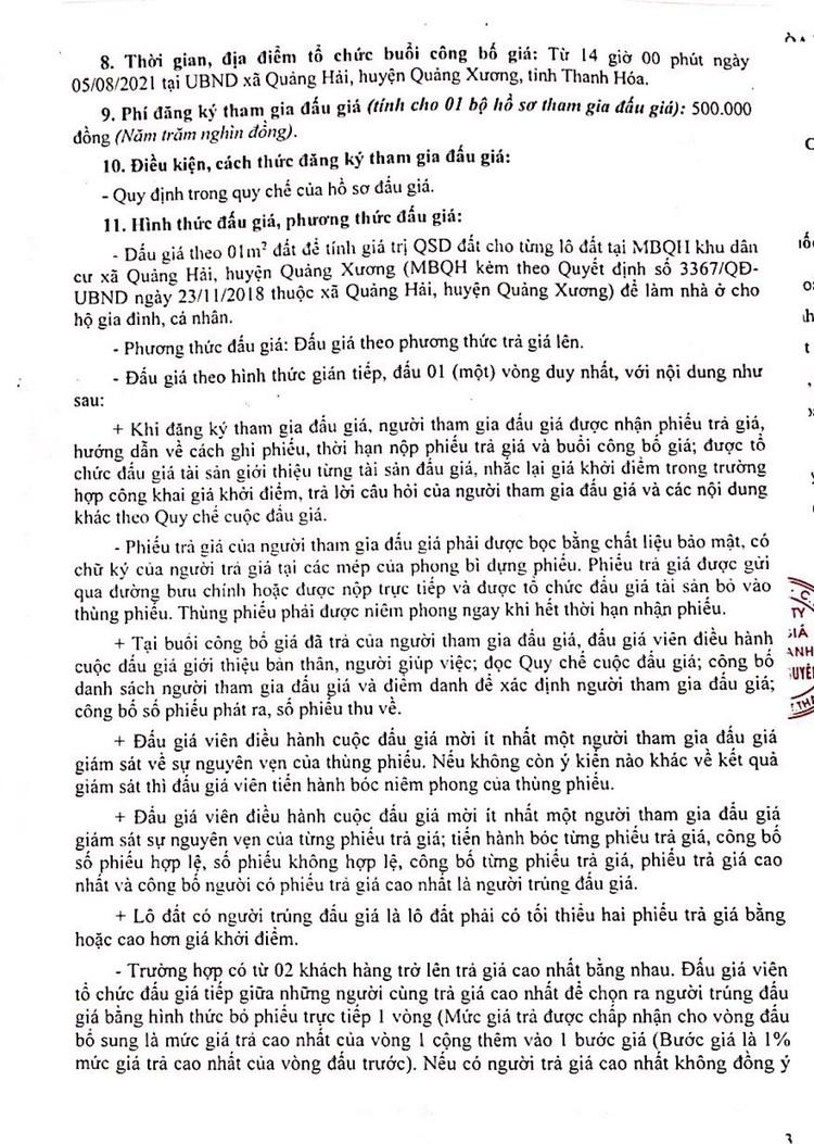Ngày 5/8/2021, đấu giá quyền sử dụng 54 lô đất tại huyện Quảng Xương, tỉnh Thanh Hóa ảnh 5