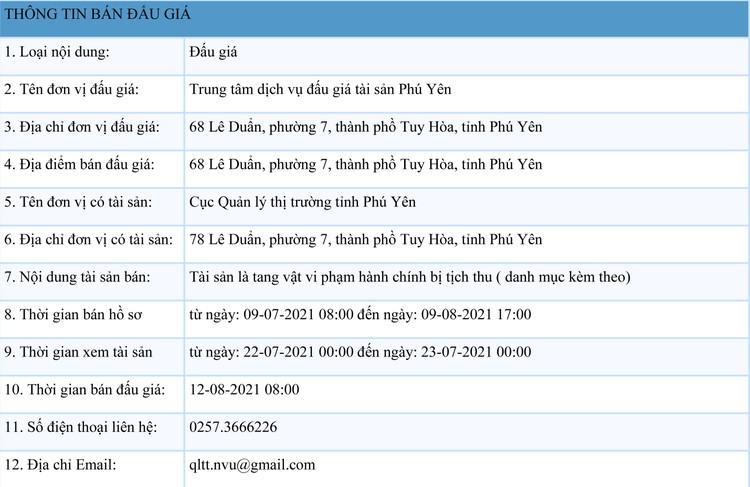 Ngày 12/8/2021, đấu giá tang vật vi phạm hành chính tại tỉnh Phú Yên ảnh 1
