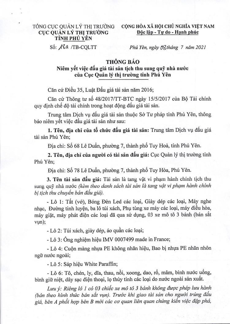 Ngày 12/8/2021, đấu giá tang vật vi phạm hành chính tại tỉnh Phú Yên ảnh 2