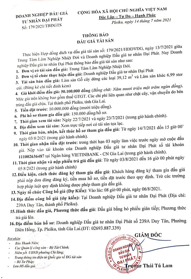 Ngày 6/8/2021, đấu giá gỗ cây đứng các loại 39,12 m3 và lâm sản khác 6,99 ster củi tại , tỉnh Gia Lai ảnh 2