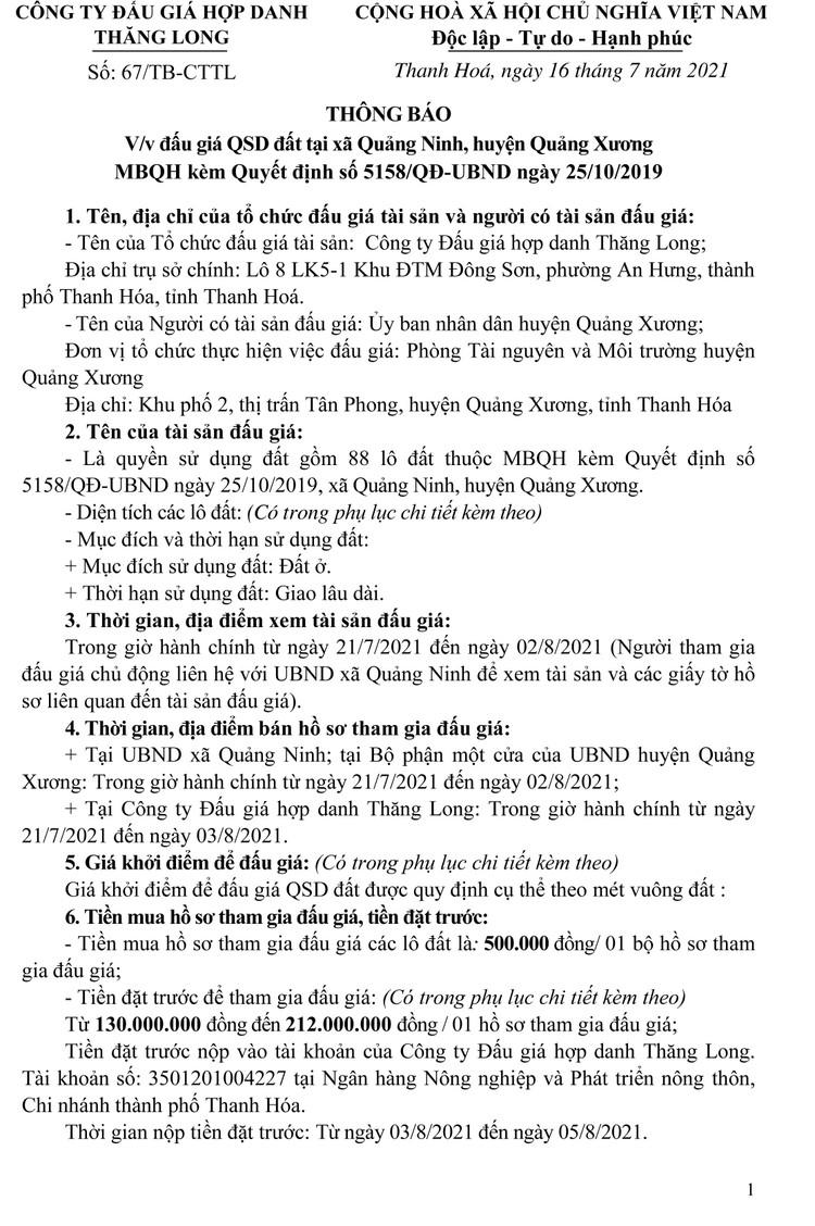 Ngày 6/8/2021, đấu giá quyền sử dụng 88 lô đất tại huyện Quảng Xương, tỉnh Thanh Hóa ảnh 6