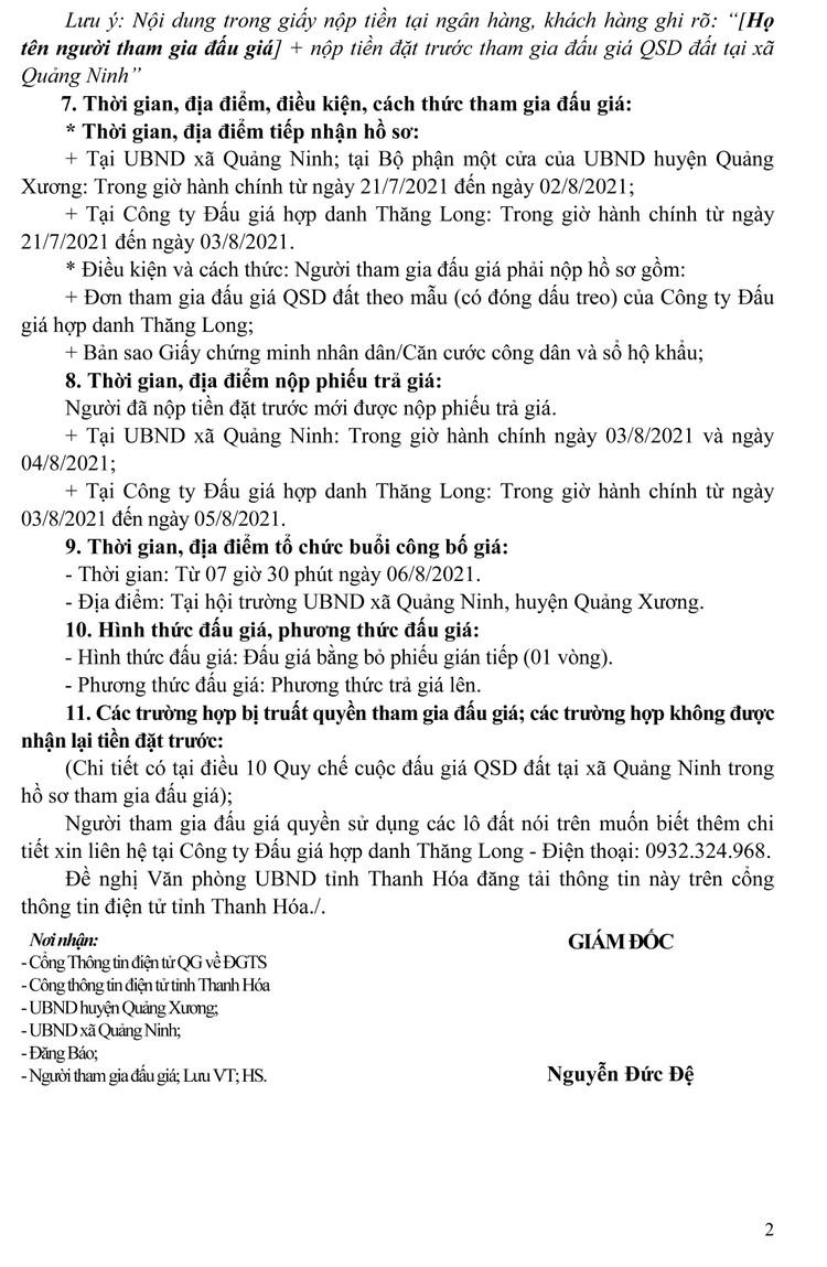Ngày 6/8/2021, đấu giá quyền sử dụng 88 lô đất tại huyện Quảng Xương, tỉnh Thanh Hóa ảnh 7