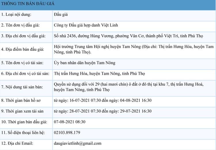 Ngày 7/8/2021, đấu giá quyền sử dụng 29 ô đất tại huyện Tam Nông, tỉnh Phú Thọ ảnh 1