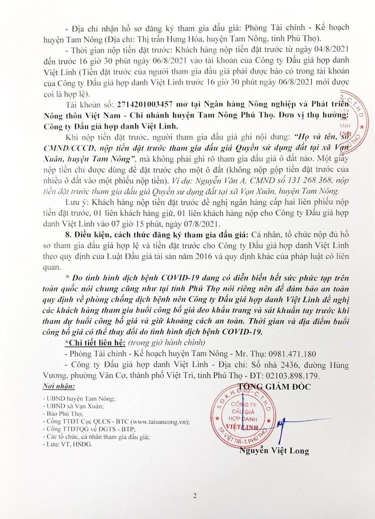 Ngày 7/8/2021, đấu giá quyền sử dụng 1ô đất tại huyện Tam Nông, tỉnh Phú Thọ ảnh 3