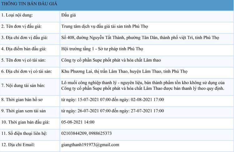 Ngày 5/8/2021, đấu giá lô muối công nghiệp tại tỉnh Phú Thọ ảnh 1