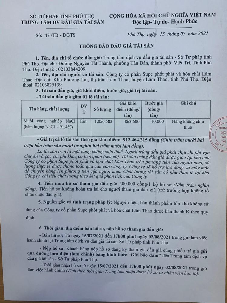 Ngày 5/8/2021, đấu giá lô muối công nghiệp tại tỉnh Phú Thọ ảnh 2