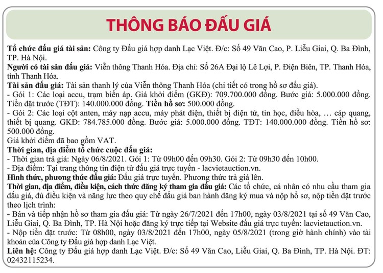 Ngày 6/8/2021, đấu giá các loại accu, trạm biến áp, cột anten, máy phát điện tại tỉnh Thanh Hóa ảnh 1