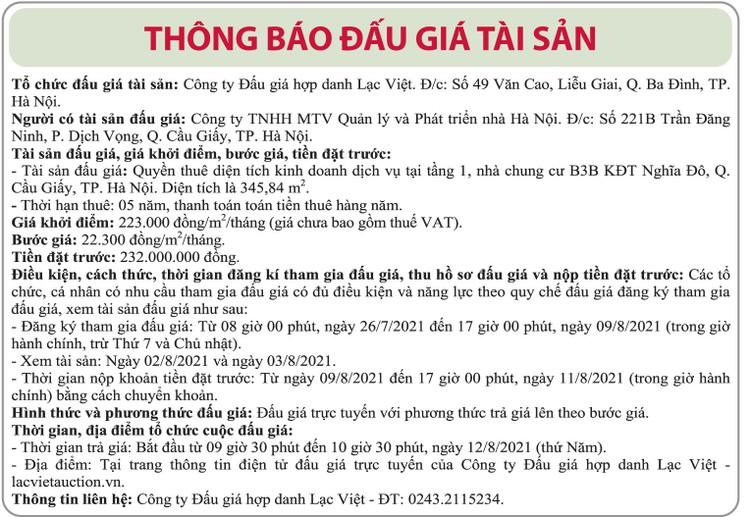 Ngày 12/8/2021, đấu giá quyền thuê diện tích kinh doanh dịch vụ tại Hà Nội ảnh 1