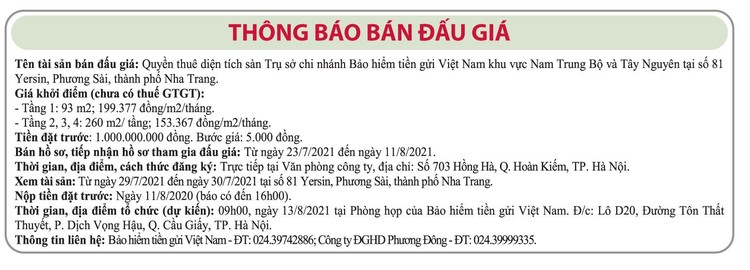 Ngày 13/8/2021, đấu giá quyền thuê diện tích sàn trụ sở Bảo hiểm tiền gửi Việt Nam tại TP.Nha Trang, Khánh Hòa ảnh 1