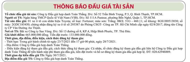 Ngày 30/7/2021, đấu giá xe ô tô Toyota tại TP.HCM ảnh 1