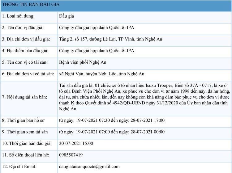 Ngày 30/7/2021, đấu giá xe ô tô Isuzu Trooper tại tỉnh Nghệ An ảnh 1
